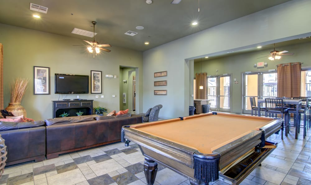 Billiards table in the clubhouse at The Residences at Stadium Village in Surprise, Arizona