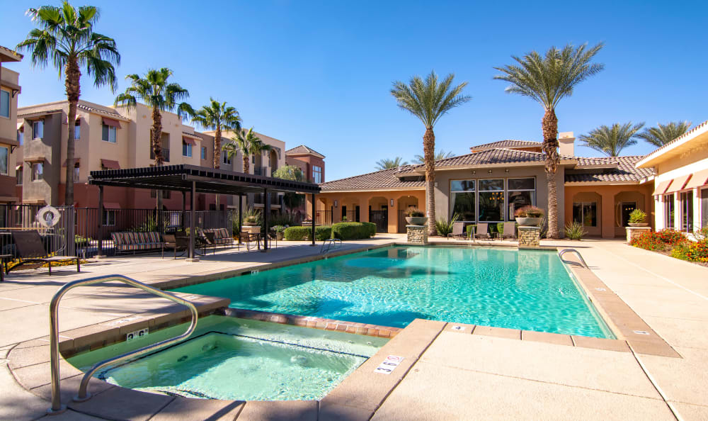 Spa and swimming pool at The Residences at Stadium Village in Surprise, Arizona