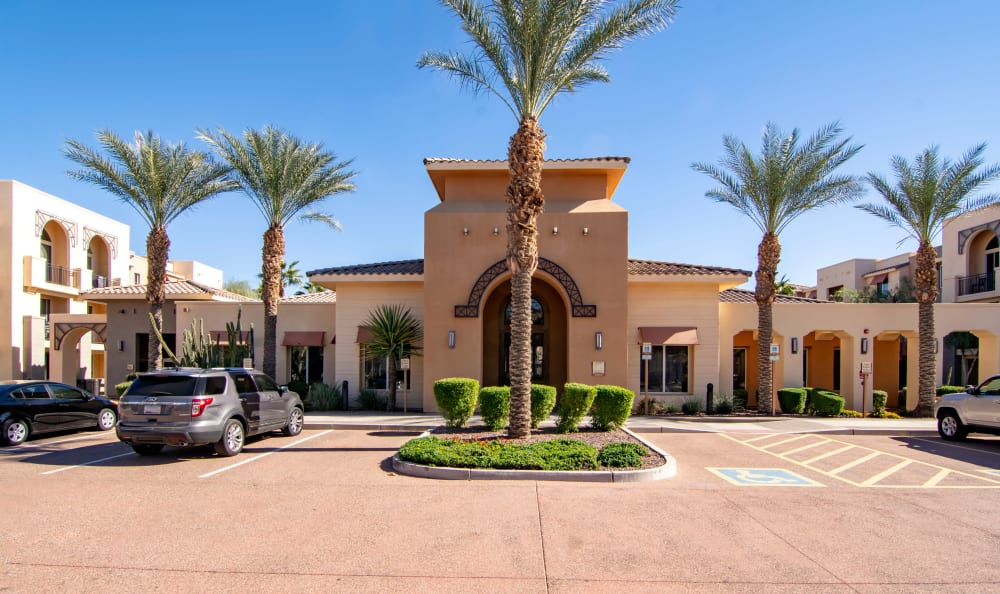 Exterior view of the leasing center at The Residences at Stadium Village in Surprise, Arizona