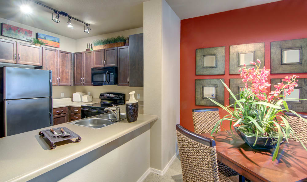 Accent wall in the dining area near the kitchen of a model home at The Residences at Stadium Village in Surprise, Arizona
