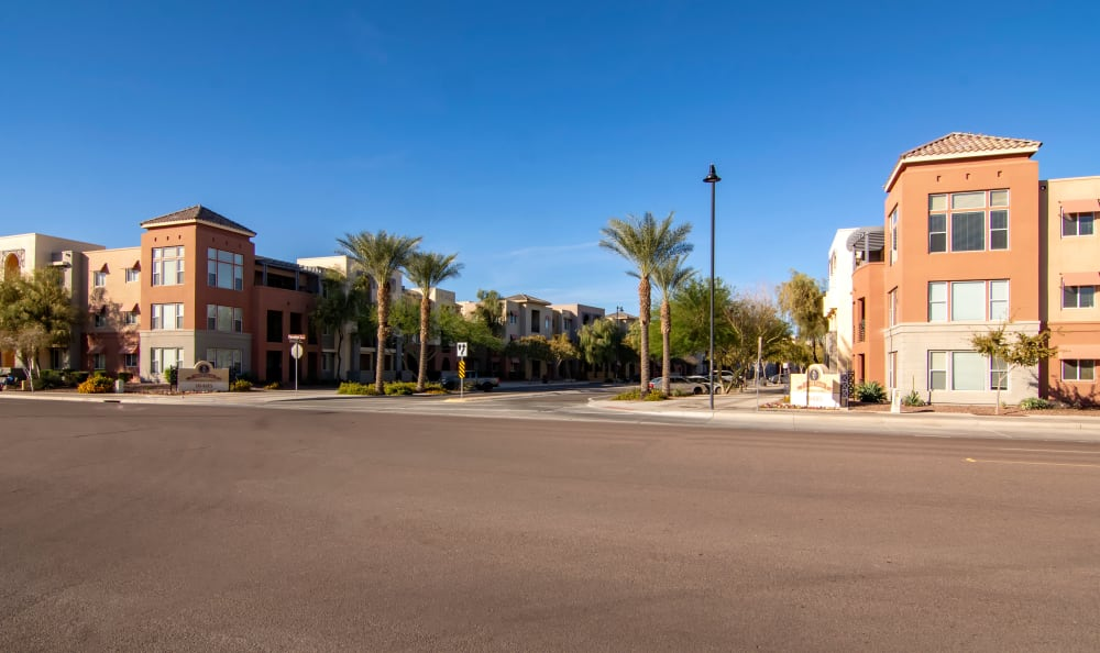 View of our community from across the street at The Residences at Stadium Village in Surprise, Arizona
