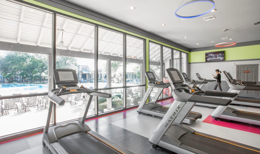 Treadmills and cardio machines in the fitness center at Riata Austin in Austin, Texas