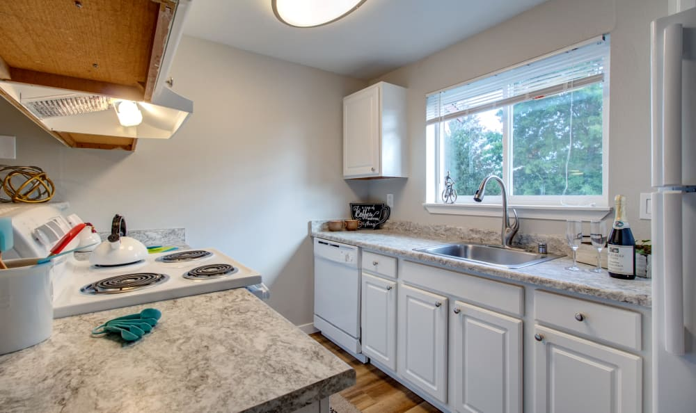 Model Kitchen at Discovery Landing Apartment Homes in Burien, WA