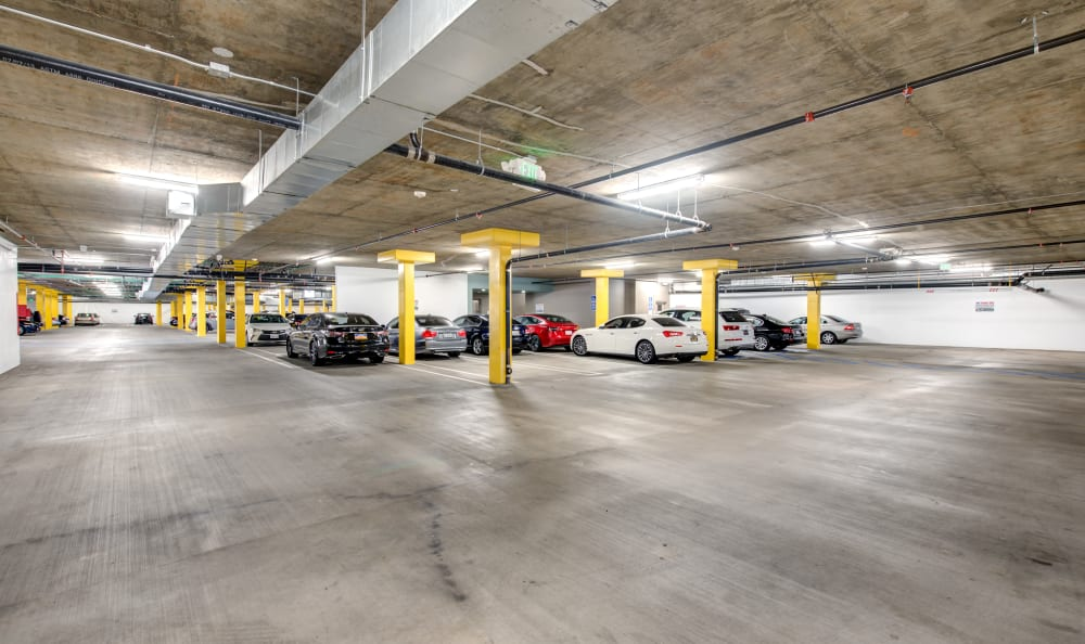 Secure vehicle parking in the underground garage at IMT Park Encino in Encino, California
