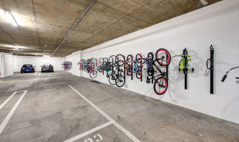Bicycle storage in the underground parking garage at IMT Park Encino in Encino, California