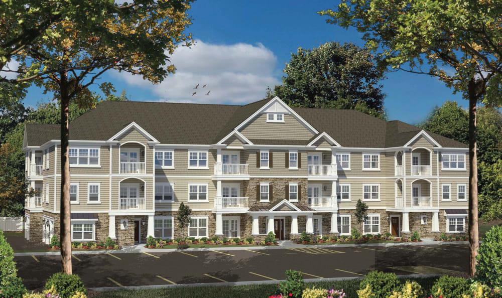 Exterior building of Winding Creek Apartments in Webster, New York.