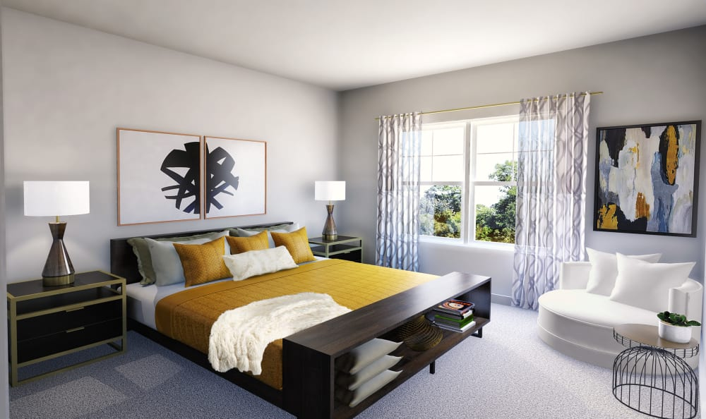Large bedrooms with natural light at Winding Creek Apartments in Webster, New York.