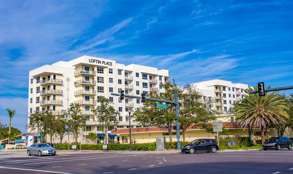 Exterior view of our luxury community at Loftin Place Apartments in West Palm Beach, Florida