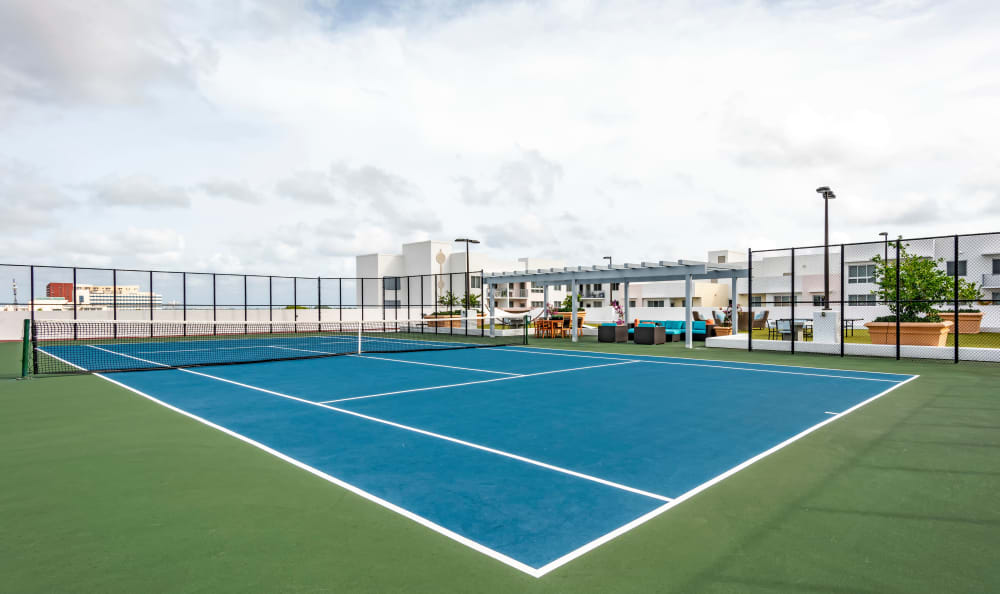 Onsite tennis courts at Loftin Place Apartments in West Palm Beach, Florida