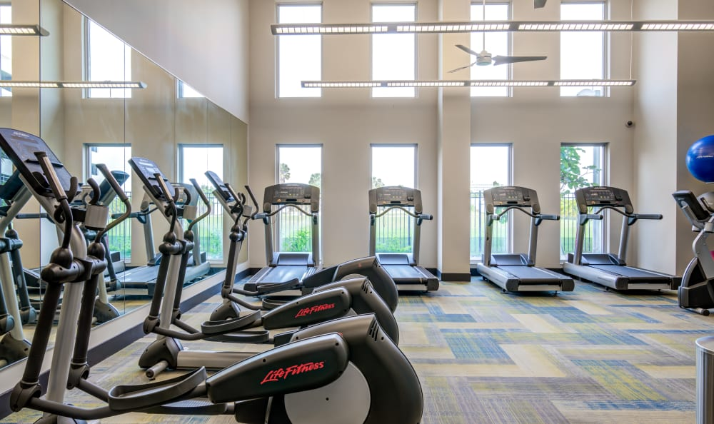Cardio machines in the fitness center at Loftin Place Apartments in West Palm Beach, Florida
