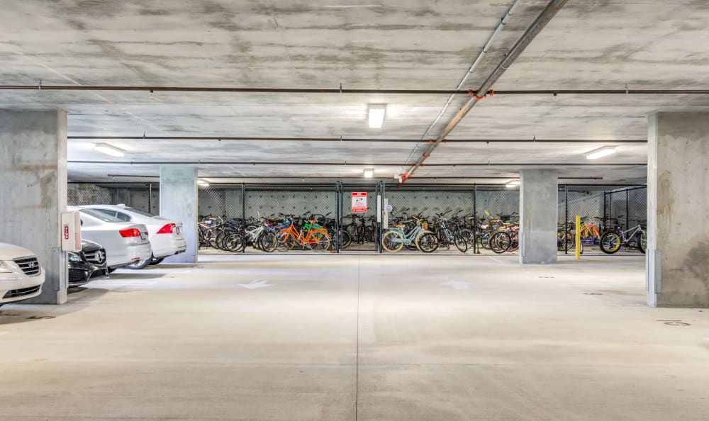 Underground vehicle parking and secure bicycle storage at Loftin Place Apartments in West Palm Beach, Florida