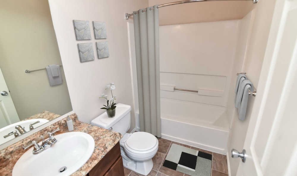 Upgraded bathroom at Cherry Lane Apartment Homes in Bountiful