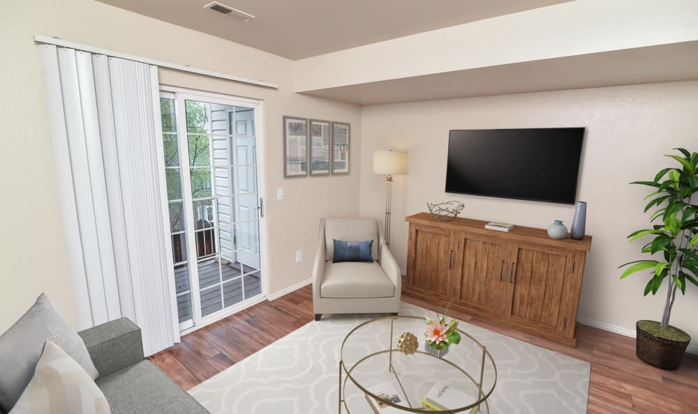 Spacious living room at Cherry Lane Apartment Homes in Bountiful