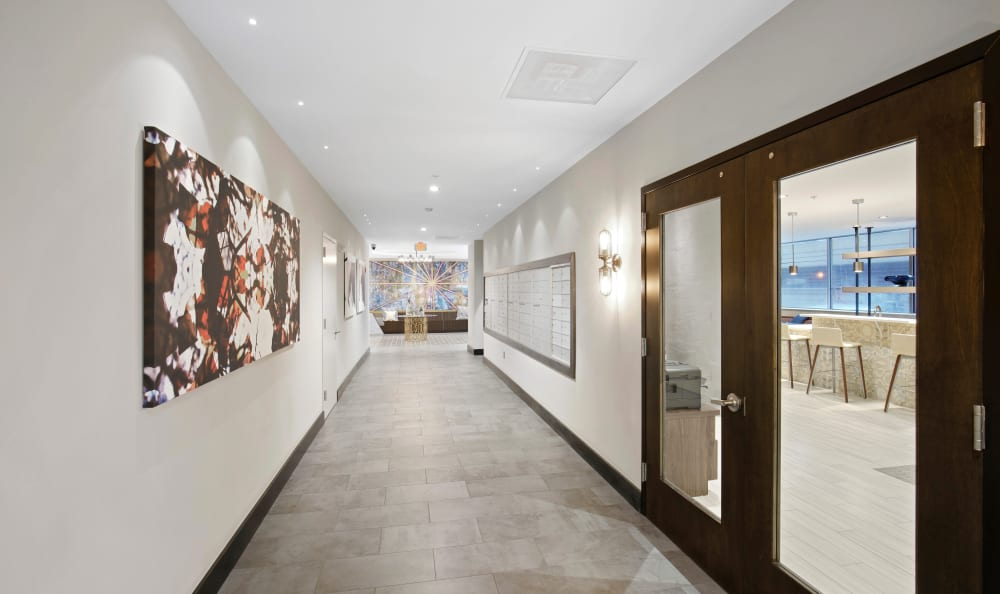 Beautifully decorated interior hallways at 222 Saratoga in Baltimore, Maryland