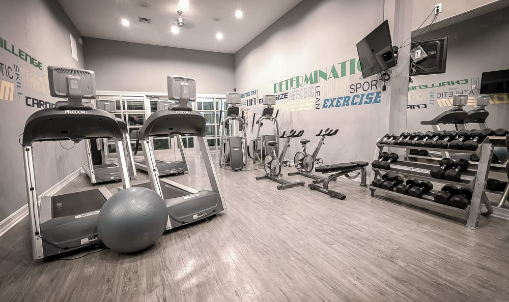 Individual treadmills and workout stations at Sage Corpus Christi in Corpus Christi, Texas