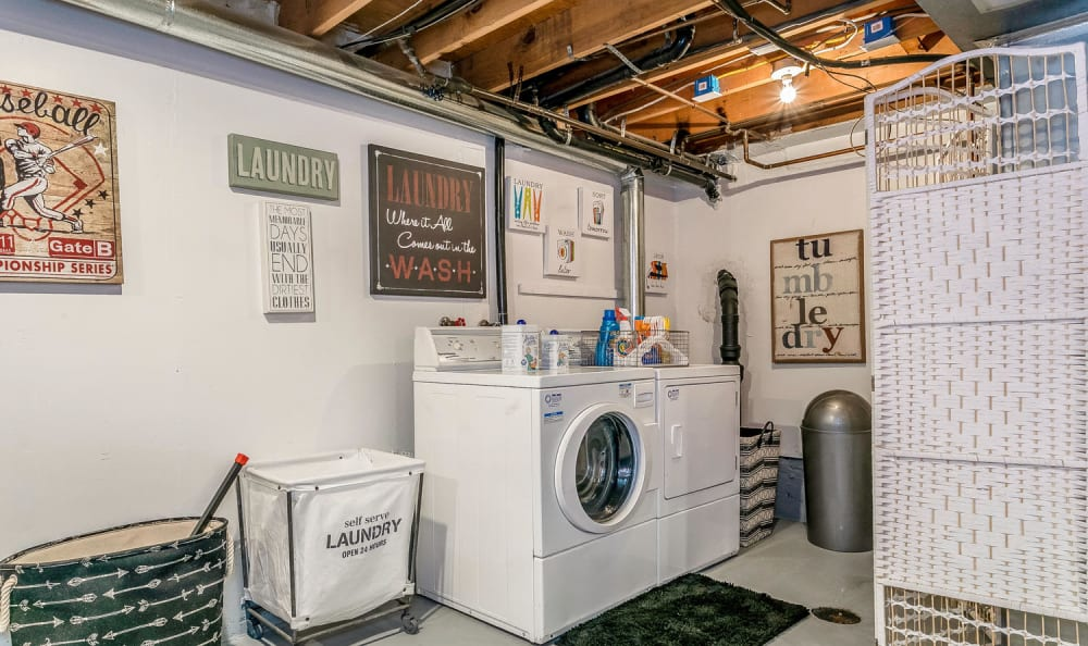 Laundry area in a model townhome at Stratus Townhomes in Westminster, Colorado