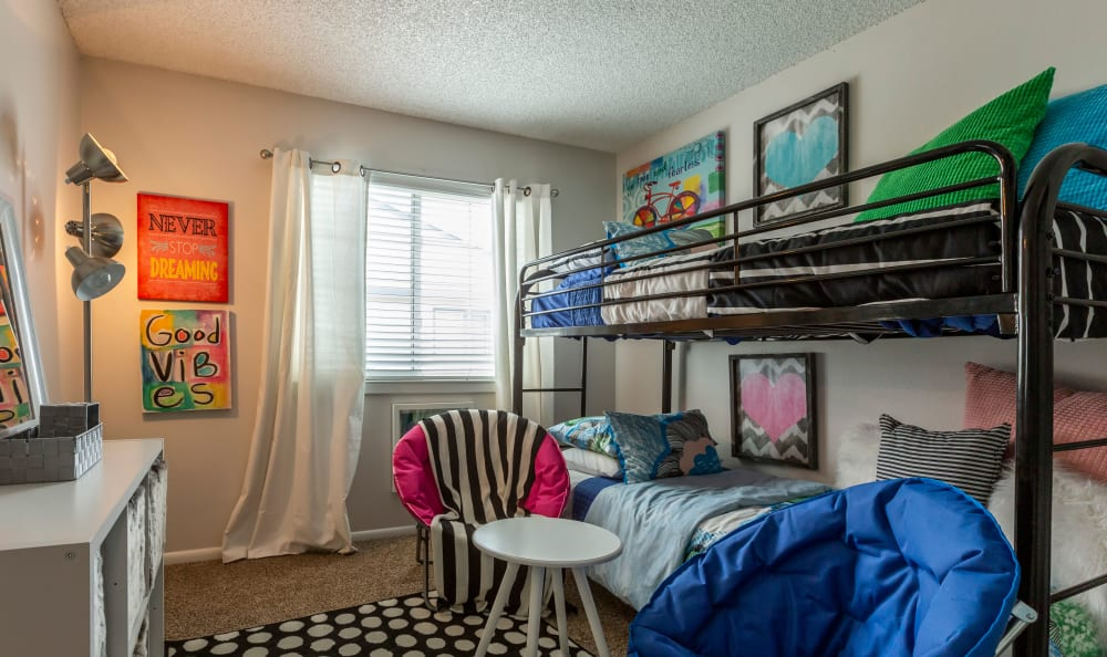 Child's bedroom in a model townhome at Stratus Townhomes in Westminster, Colorado