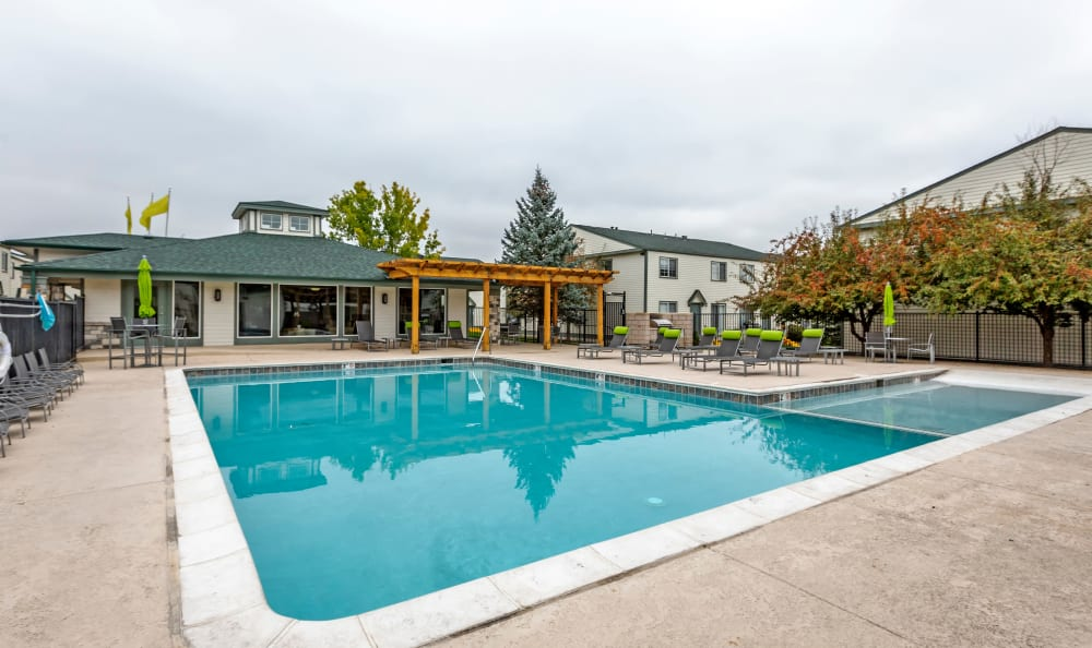 Serene swimming pool at Stratus Townhomes in Westminster, Colorado