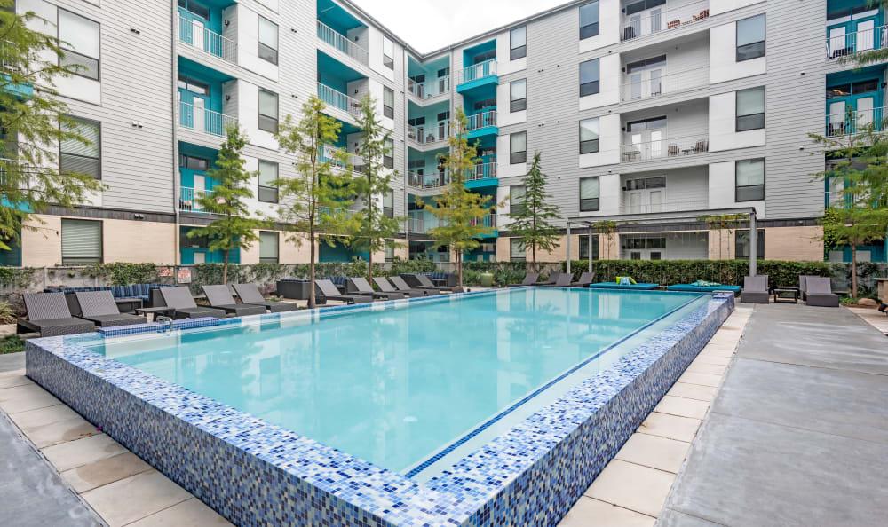 Beautiful swimming pool area at Agave in San Antonio, Texas