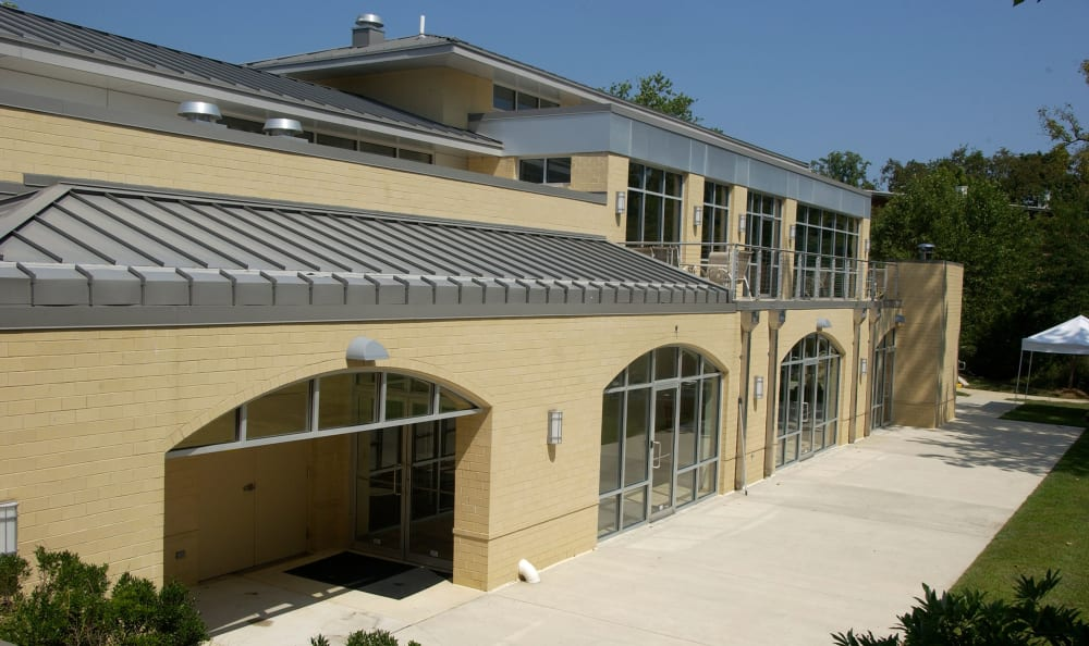 Exterior view of the recently renovated resident clubhouse at Watergate Pointe in Annapolis, Maryland