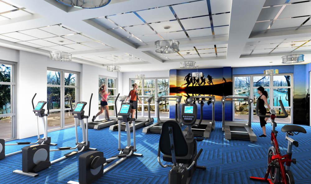 Well-equipped fitness center at Watergate Pointe in Annapolis, Maryland