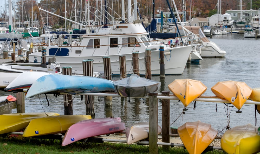 Canoes and kayaks near the harbor at Watergate Pointe in Annapolis, Maryland