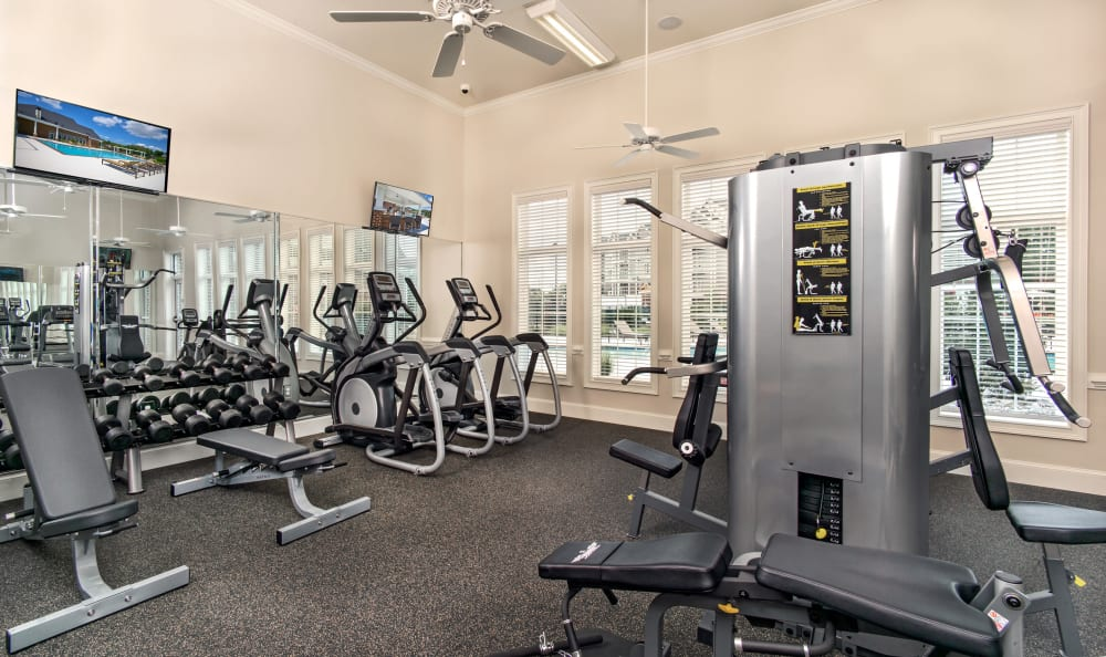 Fitness center with individual work stations at Meridian Obici in Suffolk, Virginia