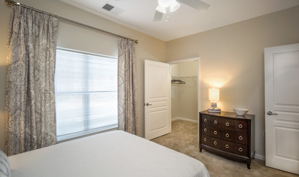 Large master bedroom with a walk-in closet at Meridian Obici in Suffolk, Virginia