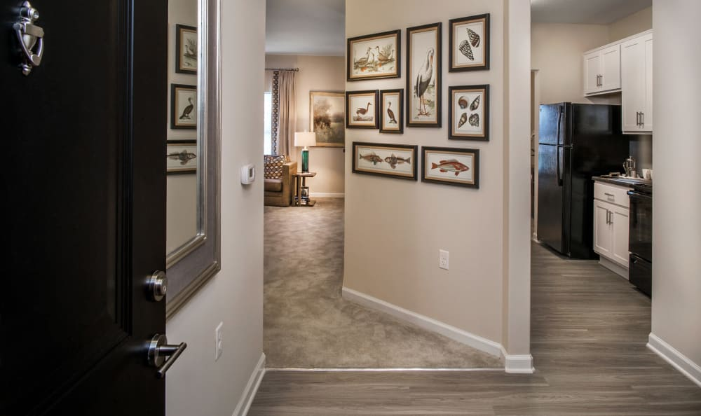 Large entry way in model home at Meridian Obici in Suffolk, Virginia