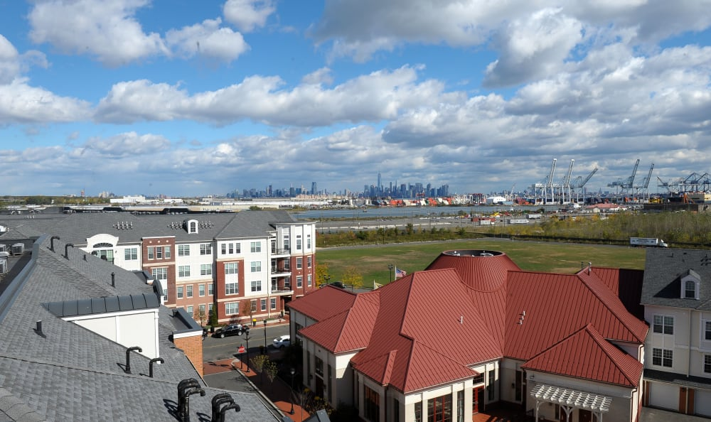 View from the balcony at Harbor Pointe in Bayonne, New Jersey
