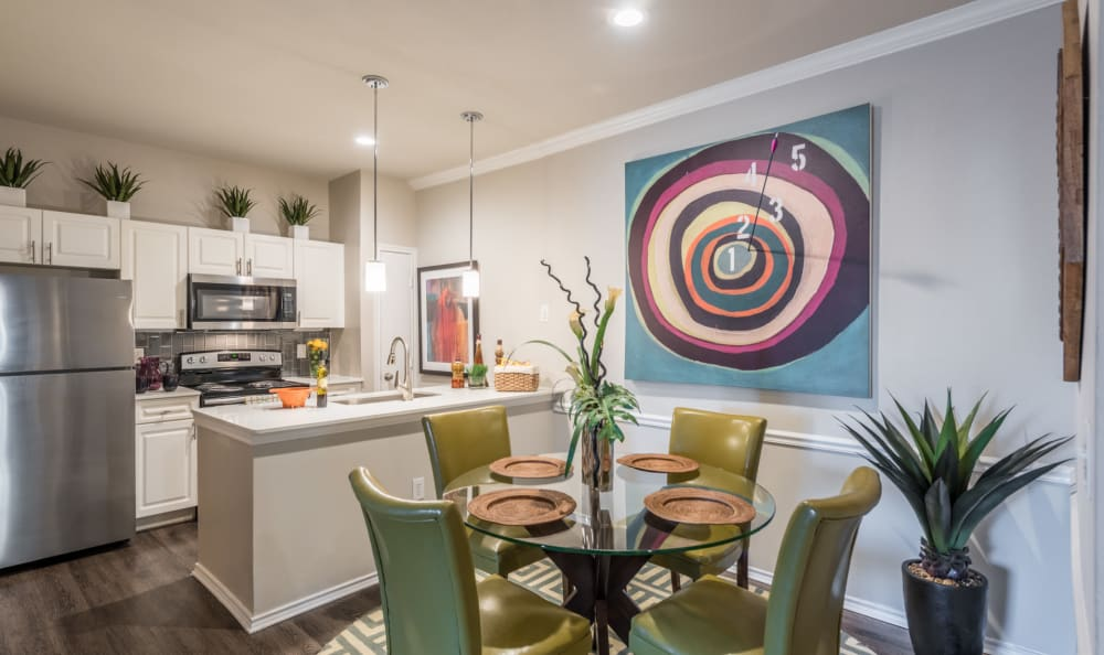 Beautifully decorated dining area in a model home at Sage at 1825 Apartments in Pflugerville, Texas