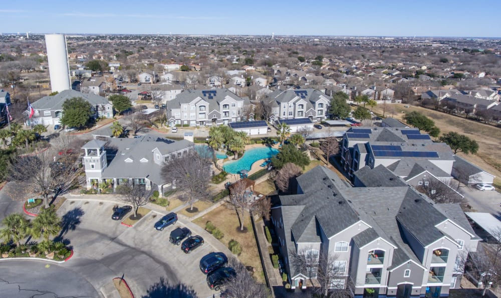 Aerial view of community at Sage at 1825 Apartments in Pflugerville, Texas