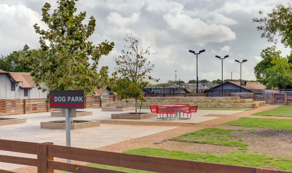 Large dog park with seating at Array Apartments in Austin, Texas