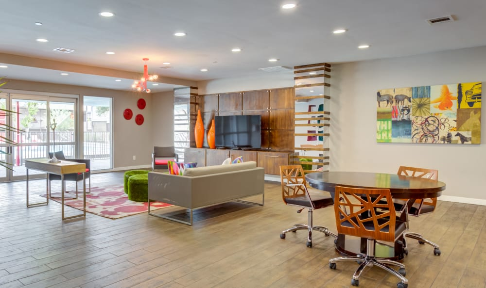 Resident lounge with ample seating at Array Apartments in Austin, Texas