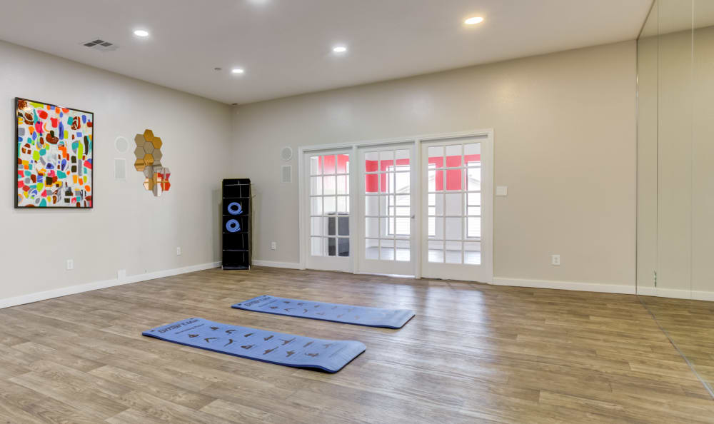 Spacious yoga room at Array Apartments in Austin, Texas