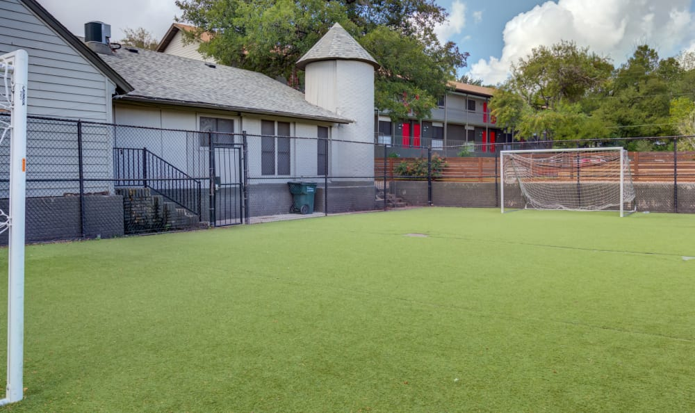 Soccer field with turf grass at Array Apartments in Austin, Texas