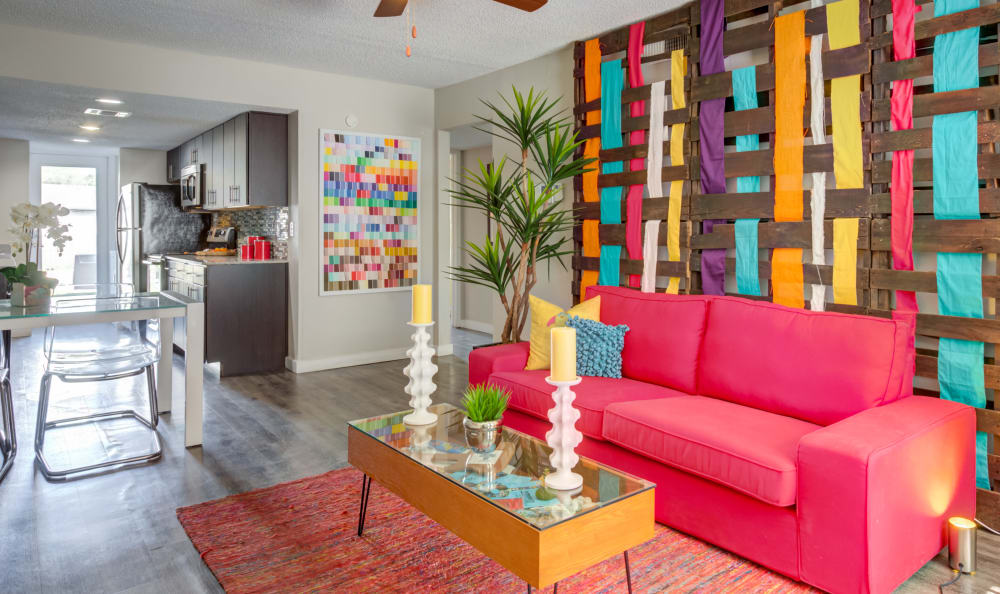 Beautifully decorated living room at Array Apartments in Austin, Texas