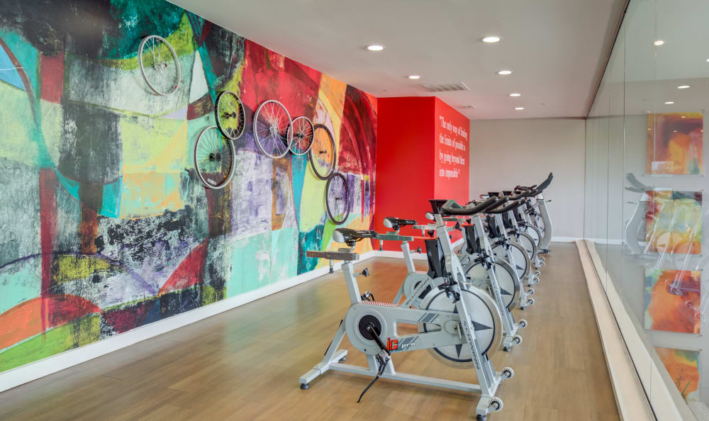 Spin room at Array Apartments in Austin, Texas