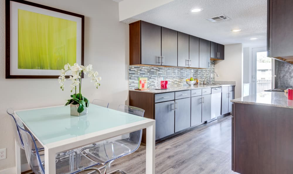 Large kitchen with ample counter space at Array Apartments in Austin, Texas