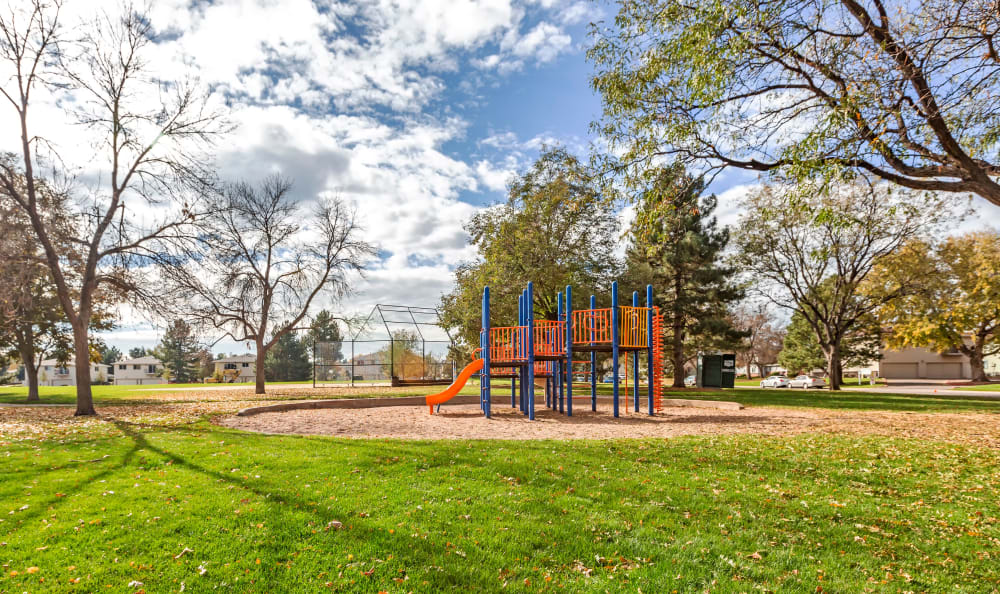 One of the onsite children's playgrounds at The Ranch at Bear Creek Apartments & Townhomes in Lakewood, Colorado