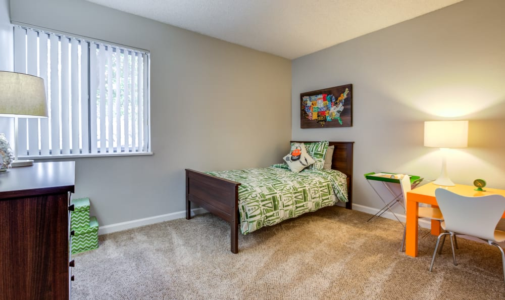 Child's bedroom in a model home at The Ranch at Bear Creek Apartments & Townhomes in Lakewood, Colorado