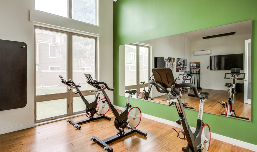 Spin class room at The Ranch at Bear Creek Apartments & Townhomes in Lakewood, Colorado