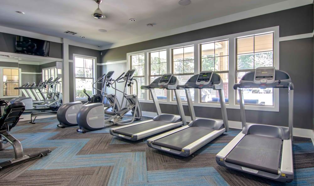Treadmills and cardio machines in the fitness center at Landing Square in Atlanta, Georgia