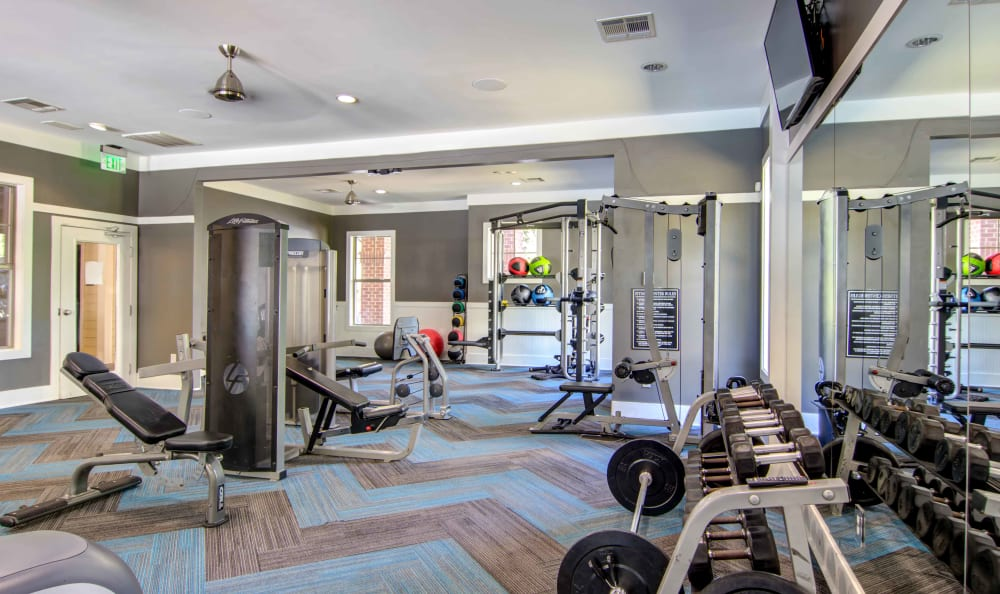 Well-equipped fitness center at Landing Square in Atlanta, Georgia