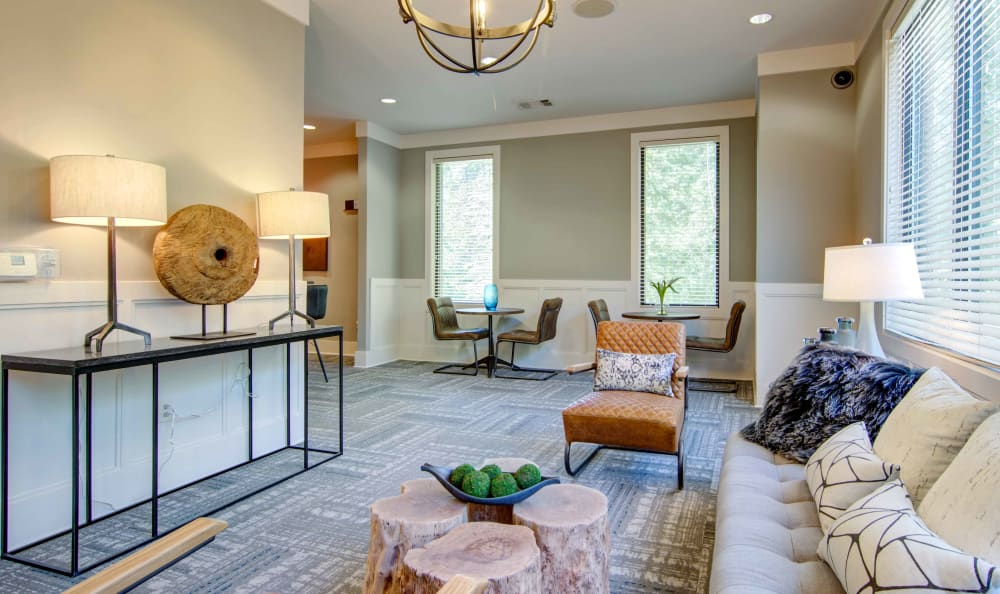 Comfortable seating and modern decor in the resident clubhouse at Landing Square in Atlanta, Georgia