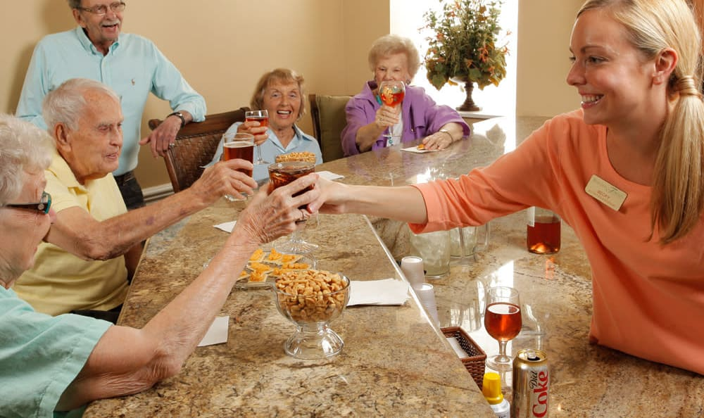 Residents enjoying drinks at Scarborough Terrace in Scarborough, Maine