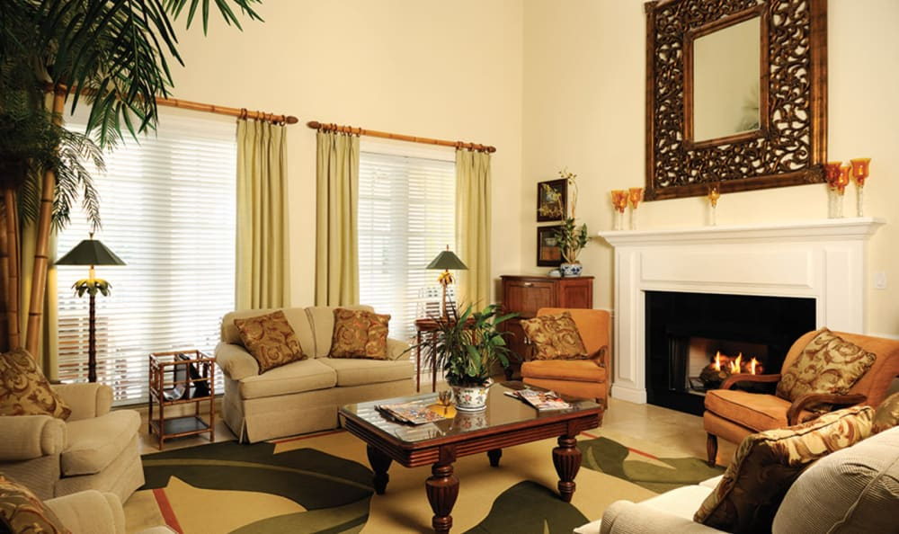 Lovely community living room area at Tequesta Terrace in Tequesta, Florida