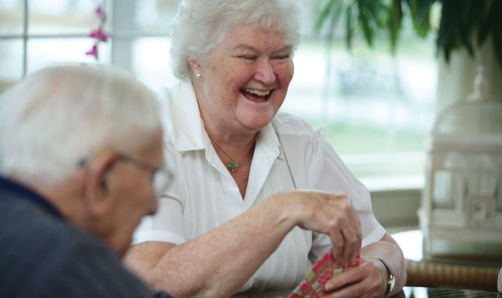Residents enjoying a game of cards together at Valley Terrace in White River Junction, Vermont