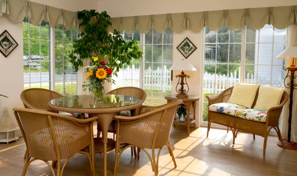 Sunlit dining areas at Valley Terrace in White River Junction, Vermont