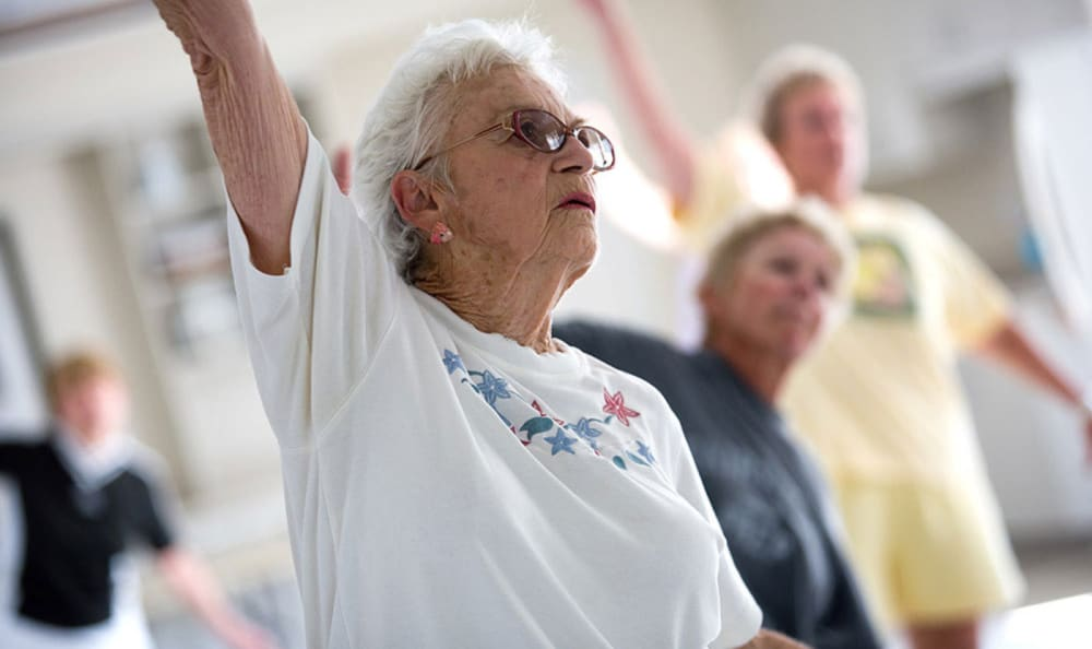 Residents taking part in a fitness class at Wheelock Terrace in Hanover, New Hampshire